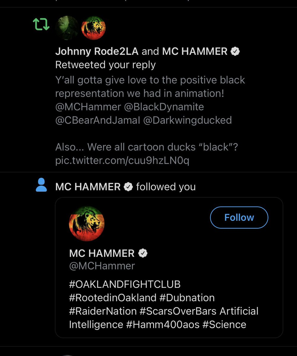 Idc what y'all say @MCHammer just followed us! My day is made! #BigSmile #Legend   Next Up: Have him on the show 🙌🏾 #goals