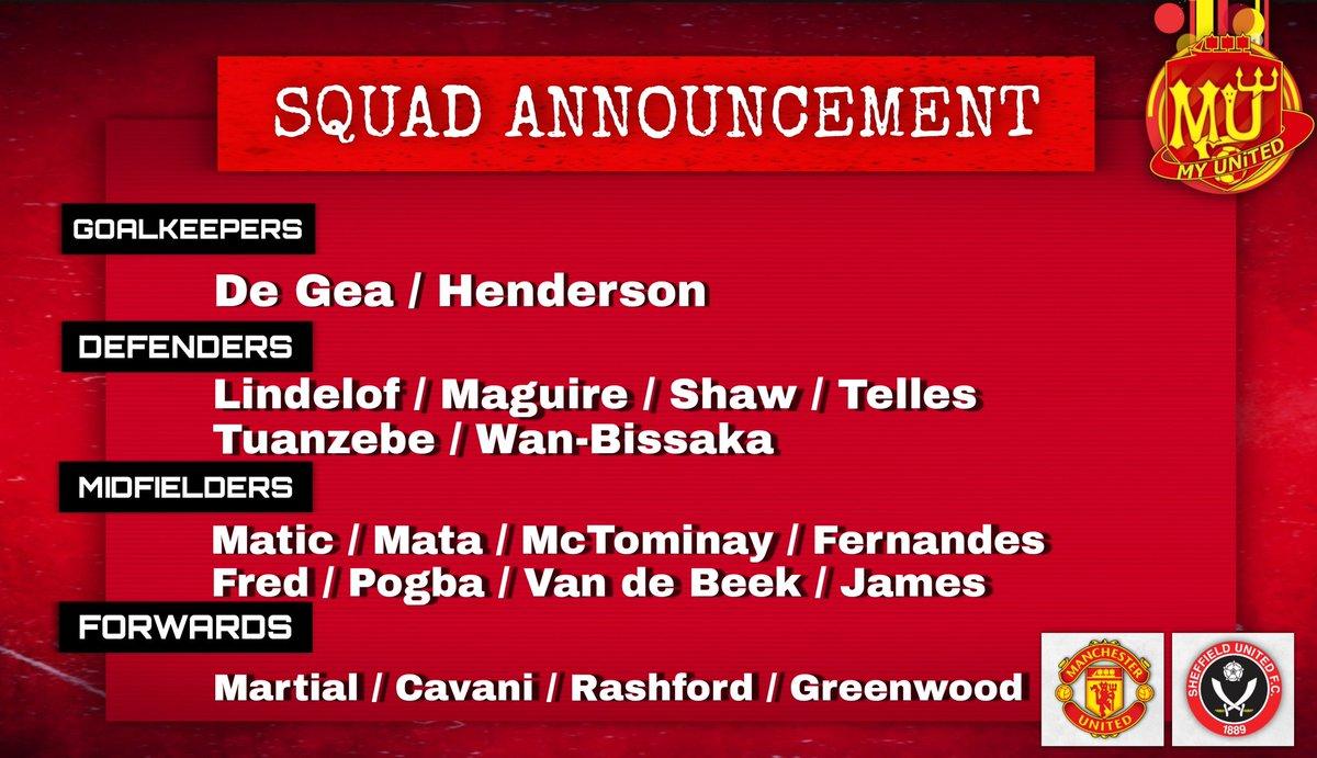 Manchester United Squad to face Sheffield United.  👹🆚️⚔ #MUNSHU #PL #MUFC