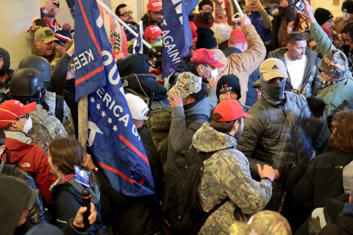 My favorite #TrumpTerrorists are the ones who wore camouflage to invade a marble building... and then topped it off with a bright red MAGA cap.  It was tactical genius.
