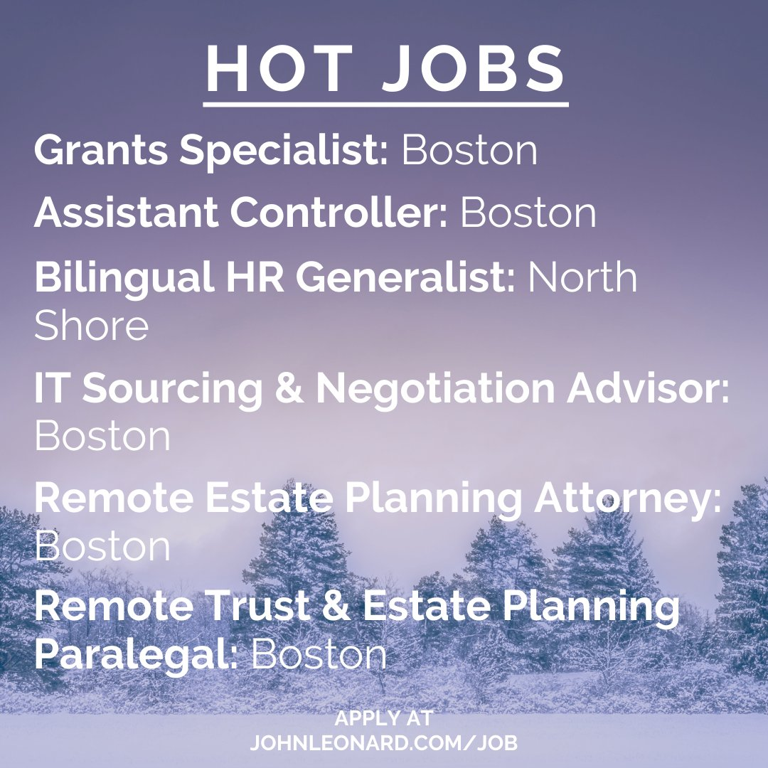 New Year, new job opportunities! Click the link to apply to these hot jobs and view all our exciting job openings!  🔥#hotjobs #weeklyflash #Boston #MA #hiring #jobseekers #career #HR #legal #marketing #IT #sales #newjobs #newyear #January