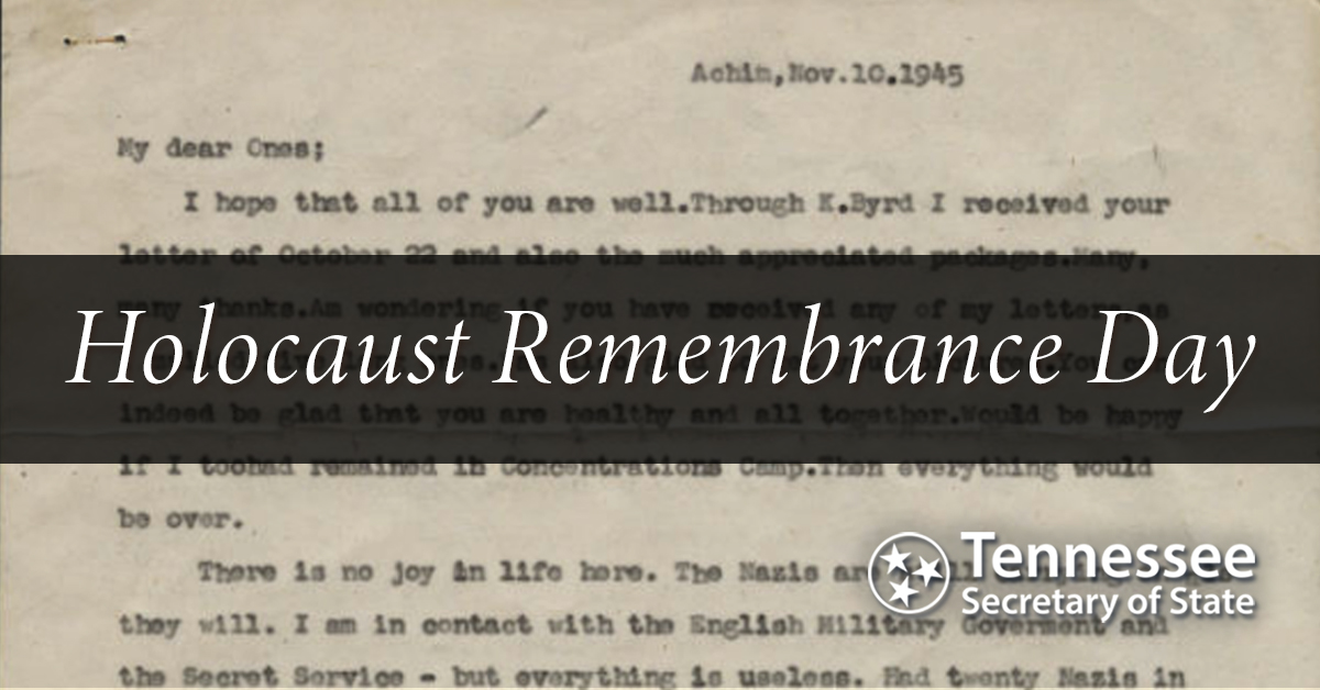 On #HolocaustRemembranceDay we honor the survivors and remember the many lives lost during the #Holocaust. This letter from Kurt Anspacher describing his experiences during the Holocaust is part of the Tennessee Virtual Archive, . #neveragain #WeRemember