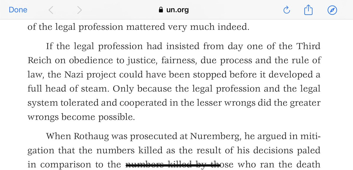 For #HolocaustRemembranceDay I hope lawyers will take a few minutes to read about the through complicity of the German legal profession in supporting the Nazi regime. And let's not pretend law or lawyers can be divorced from political events.