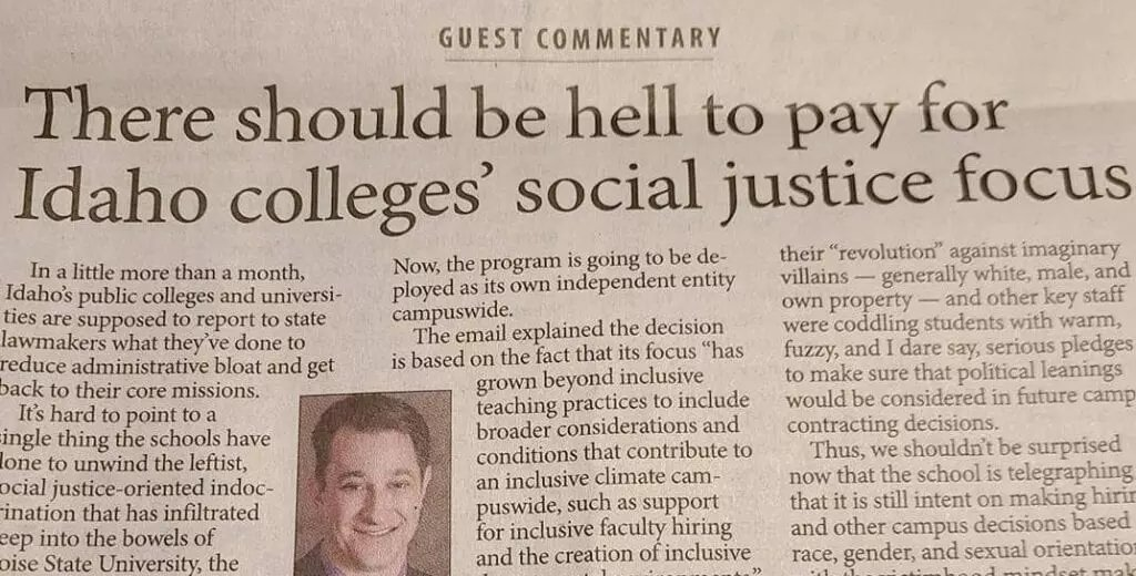"Students in Idaho can graduate without ever taking a class in American history, civics, or literature, but they can't even pass their sophomore year without paying out for four ""social justice"" courses.  #wednesdaythought"
