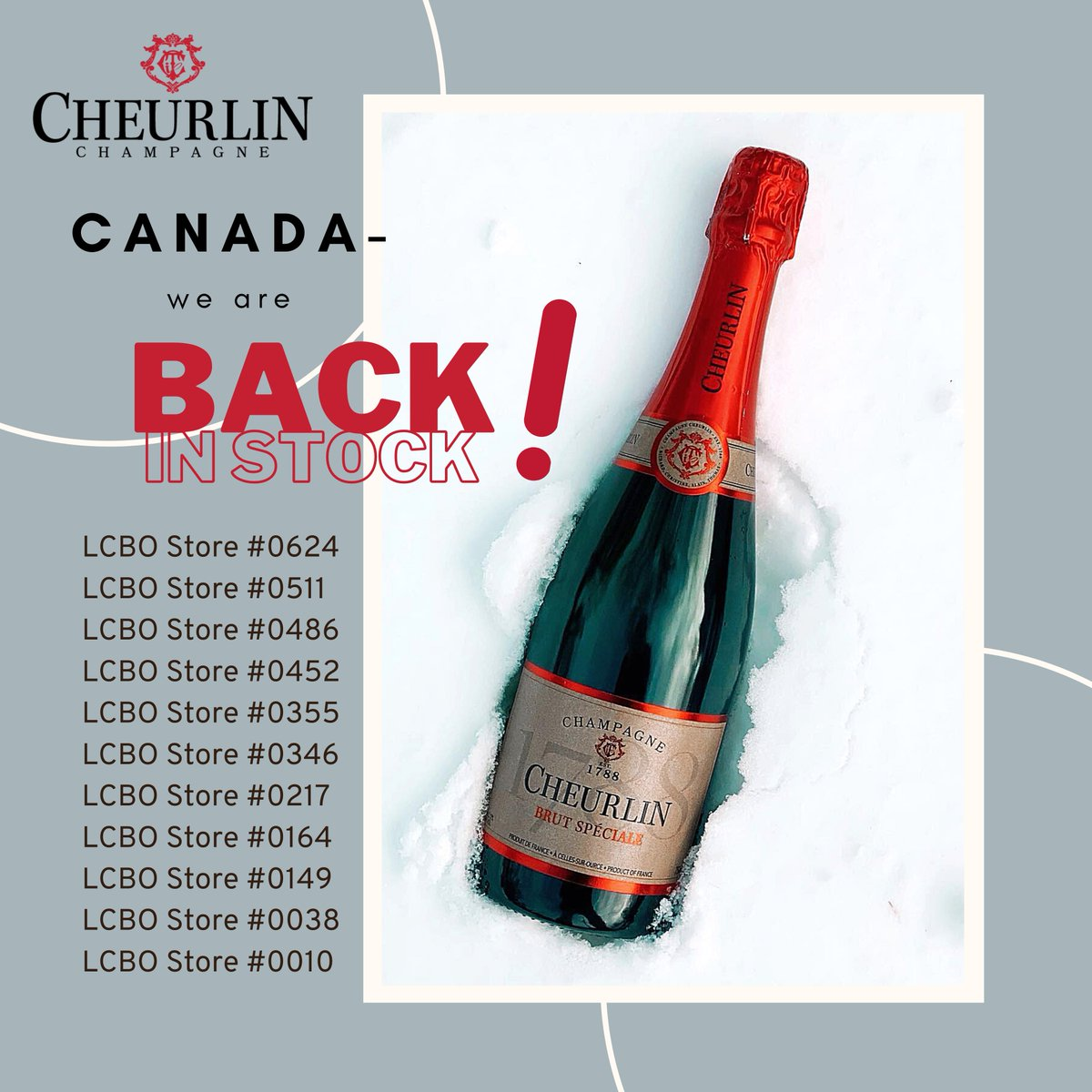 #Cheurlin1788 is currently back on the shelves again in some of the Toronto & Ottawa area LCBOs! Stay tuned for availability in the Ontario area by mid-June! #LCBO 🥂🍾🇨🇦