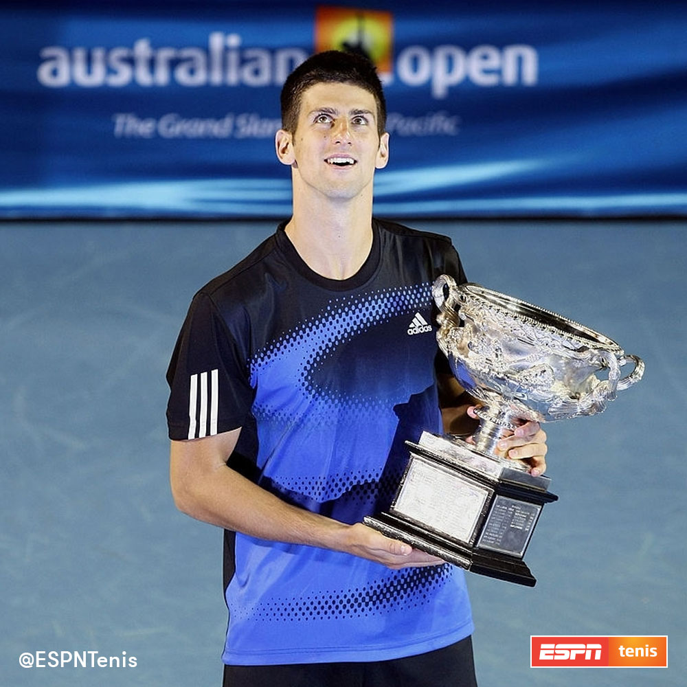 🔙 Novak Djokovic ganó tres de sus ocho #AustralianOpen un 27 de enero.  2008 🏆🇦🇺 2013 🏆🇦🇺 2019 🏆🇦🇺  ¿Cuál disfrutaste más?  #TENISxESPN @DjokerNole https://t.co/gny5z64YVP