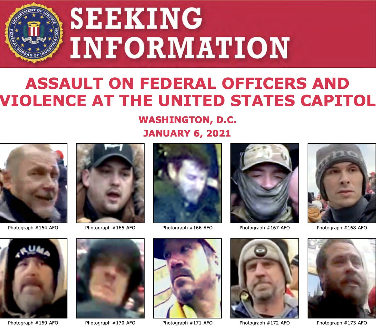 Can you help the #FBI identify anyone in these photos? We're still seeking to identify individuals who unlawfully entered the U.S. Capitol and assaulted federal officers on January 6. If you see someone you know, submit a tip to .