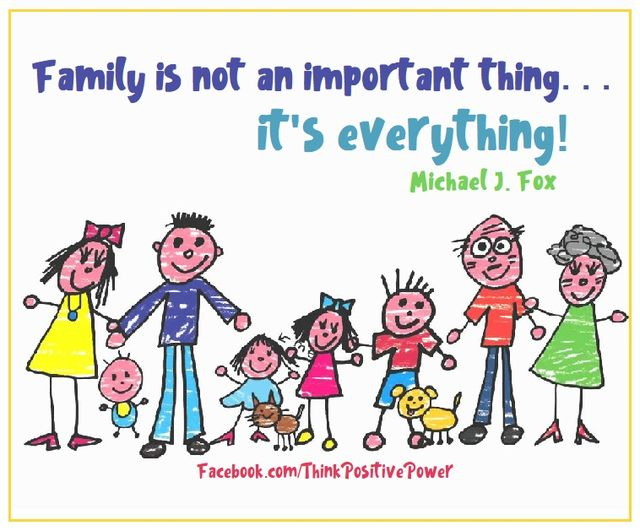 """""""Family is not an important thing... it's everything!""""💝Michael J Fox  #Wisdom #LifeLessons #InspirationalQuotes #MotivationalQuotes #MentalHealth #Reminder #Family #FamilyIsEverything #Mindfulness #Mindset #PositiveVibes #GoodVibes #Life #WednesdayThought #Blessed #Truth #Love"""