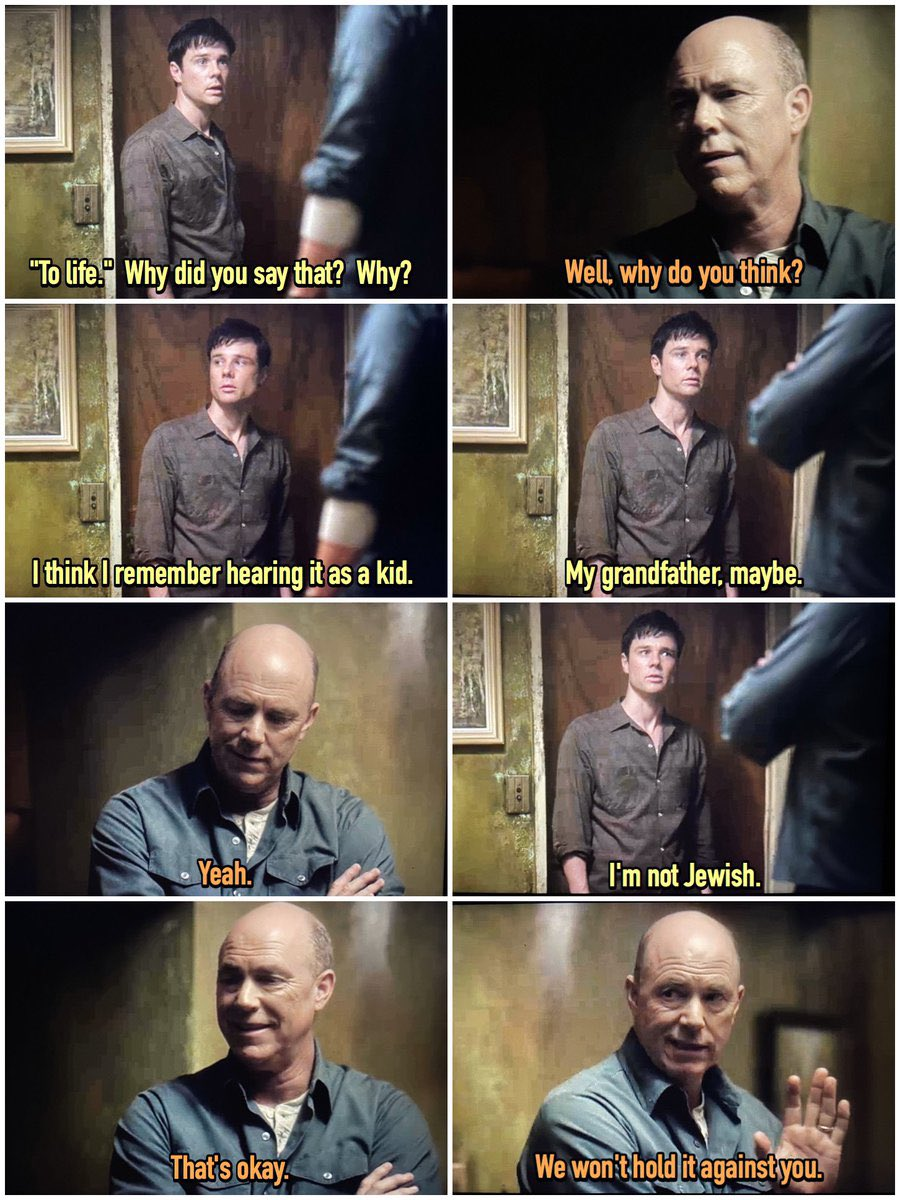 It's #HolocaustRemembranceDay, so let's take a walk back to #HighCastle S1, when Frank Frink visits Mark Sampson's house.  Frank is still uncertain about his faith, but Mark is very proud of his Jewish heritage.  Mark's reaction here always makes me chuckle.  #ManInTheHighCastle