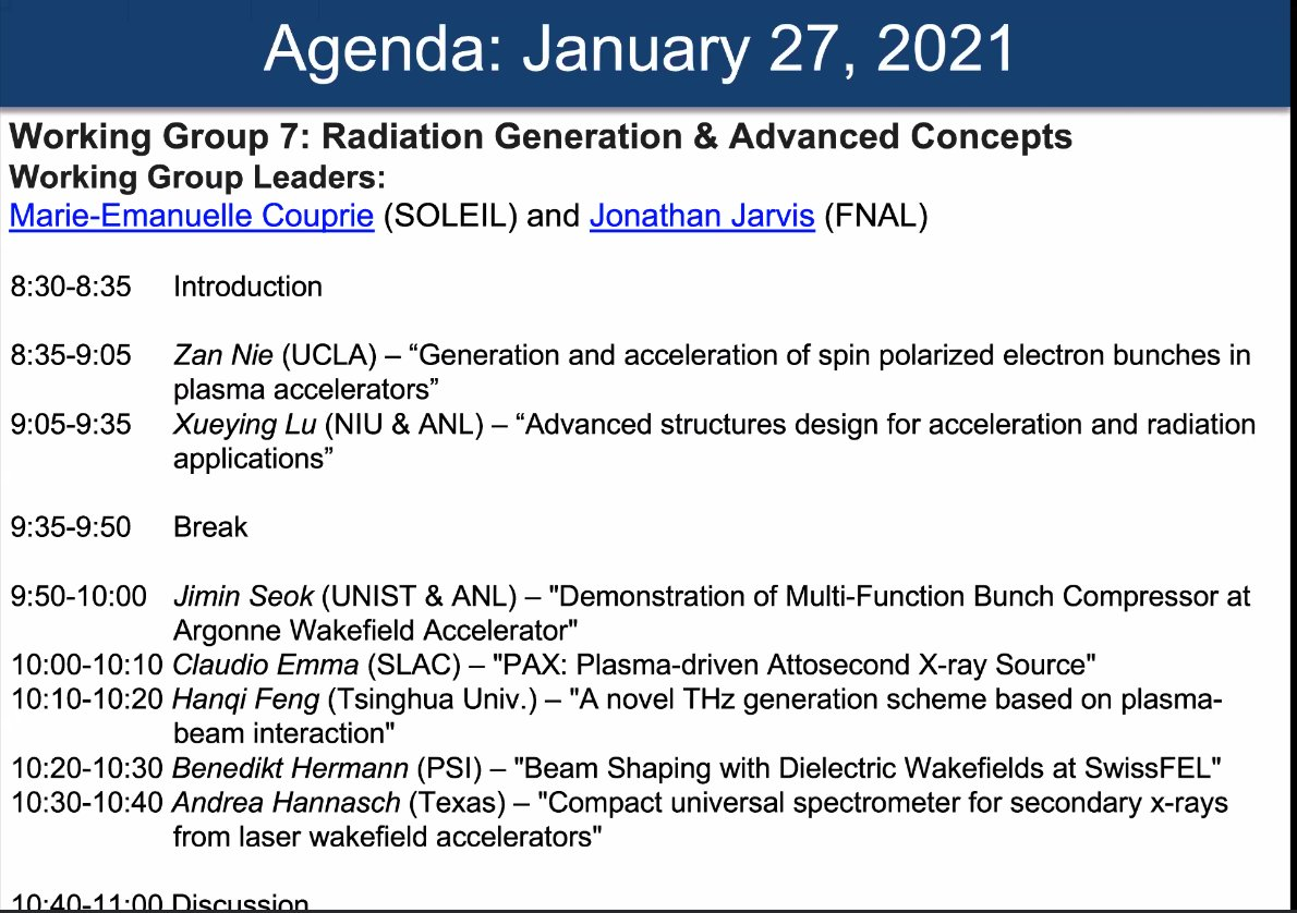 Starting now: Working Group 7 – Radiation generation and advanced concepts. The Advanced Accelerator Concepts Seminar Series starts into its next session with the following agenda: https://t.co/U58WFm6kMb https://t.co/3umATIr8fC