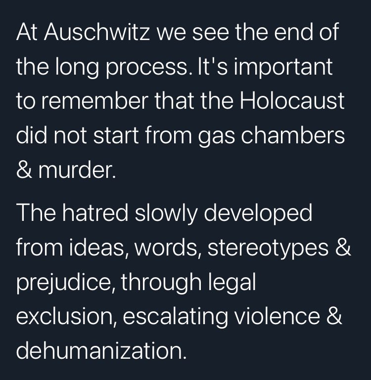 """Holocaust Memorial Day. This most important message needs to be thought about, repeated, shouted from mountaintops. """" Hatred slowly developed.."""" #NeverAgain #NEVERFORGET #FirstTheyCameForThe"""