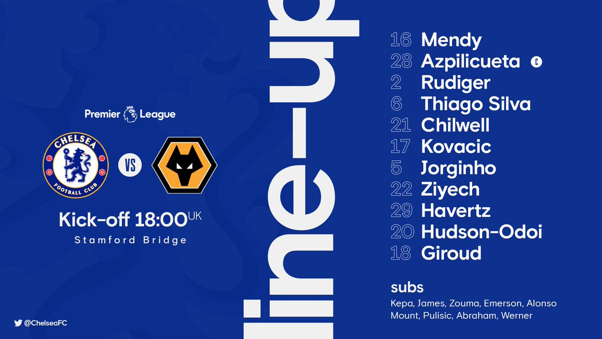 Replying to @ChelseaFC: Here is the first Chelsea team of the Thomas Tuchel era! 📝🔵  #CHEWOL