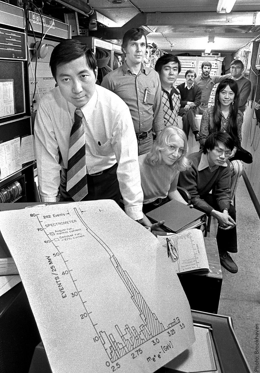 """""""A theory in natural science cannot be without experimental foundations; physics, in particular, comes from experimental work.""""  - Co-discoverer of the J/psi particle, Samuel C.C. Ting.  Photo: Ting with his research team at Brookhaven Laboratory."""