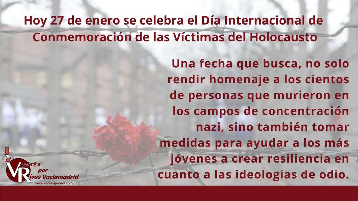 ⚪ Vecinos, hoy es Día Internacional de Conmemoración de las Víctimas del Holocausto.  #HolocaustRemembranceDay  🕯️ #DíaInternacionalDelHolocausto #WeRemember #RivasVaciamadrid #LosVecinosHacenRivas #NoOlvidamos
