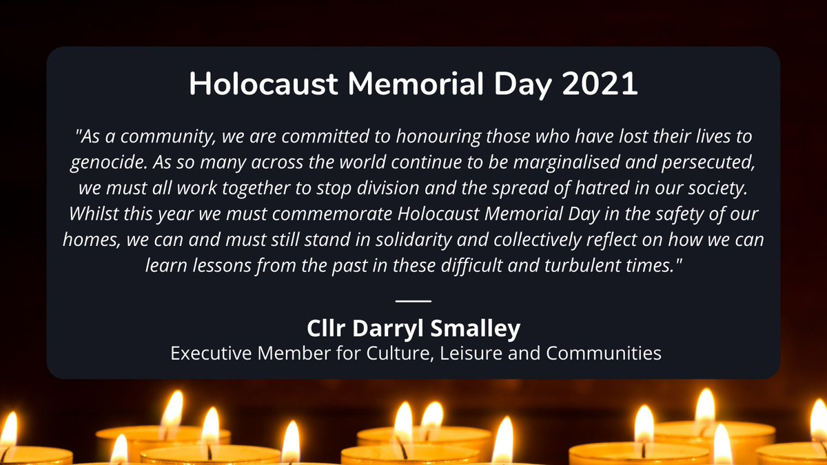 As we reflect today on the many lives lost in the Holocaust and genocide around the world, we must be the light that ensures the darkness can never return  #LightTheDarkness   #NeverAgain  #HMD2021  Join York civic online event to commemorate today -