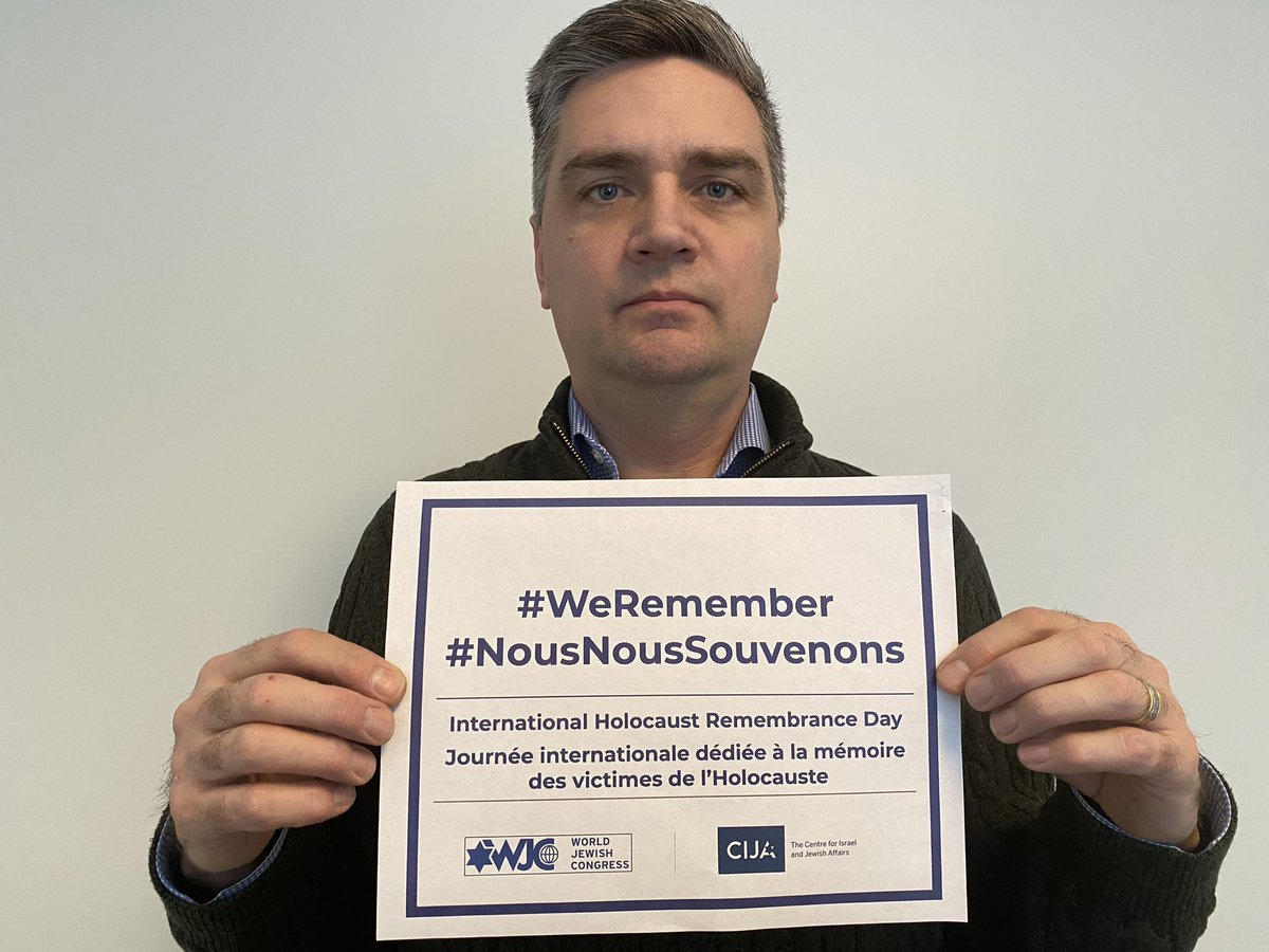 Together, let's ensure #NeverAgain truly means never again, as #WeRemember the millions of Jewish and other victims of Nazi oppression who were murdered in the Holocaust. @WorldJewishCong @CIJAinfo #IHRD