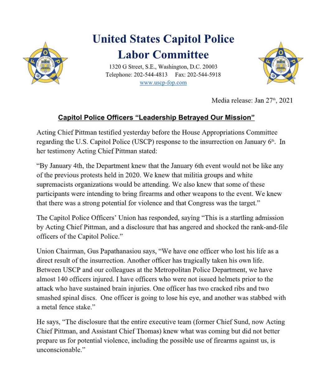 NEW: SCATHING STATEMENT from Capitol Police union on failed leadership in department before and during Jan. 6 attack on the Capitol: