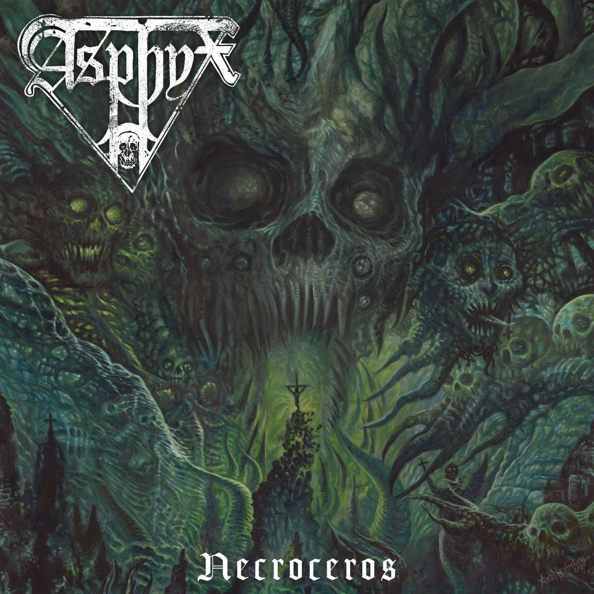 """> """"Memorable, full of rage, and sure to deliver all of the goods that fans both new and old will enjoy,"""" says @DeadRhetoric about Asphyx's new album """"Necroceros,"""" out now on @centurymedia"""