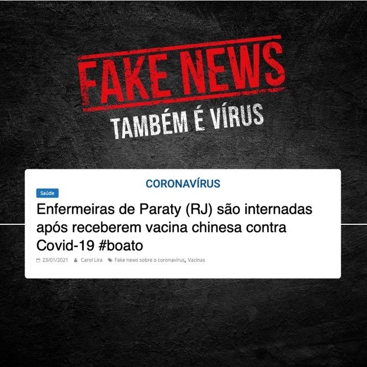 As postagens afirmando que duas enfermeiras de Paraty foram internadas após tomarem a vacina contra Covid-19 são Fake News. A vacina do Butantan é segura e eficaz e a prefeitura da cidade negou o episódio.  #Vacina #Podeconfiar #Coronavírus #VacinadoButantan #Butantan120Anos