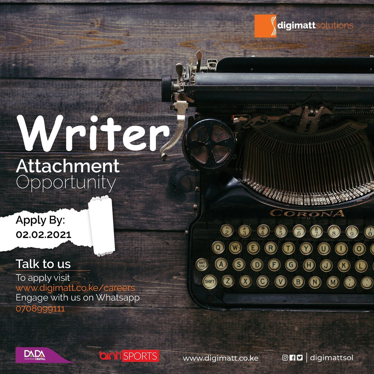 ATTACHMENT OPPORTUNITY!!! To apply click on the link :https://t.co/Yf7y4wUgbL Deadline is 2nd February 2021 So hurry, and APPLY!  #attachment #Writers #IkoKaziKE https://t.co/QoFDJd5NLe