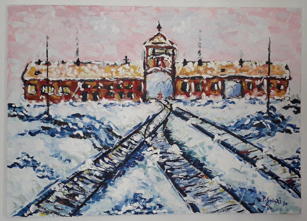 Día internacional de conmemoración del holocausto. En memoria de las víctimas y para nunca olvidar lo ocurrido. #WeRemember  La foto es un cuadro de mi compañero @SolariPablo, de Auschwitz.