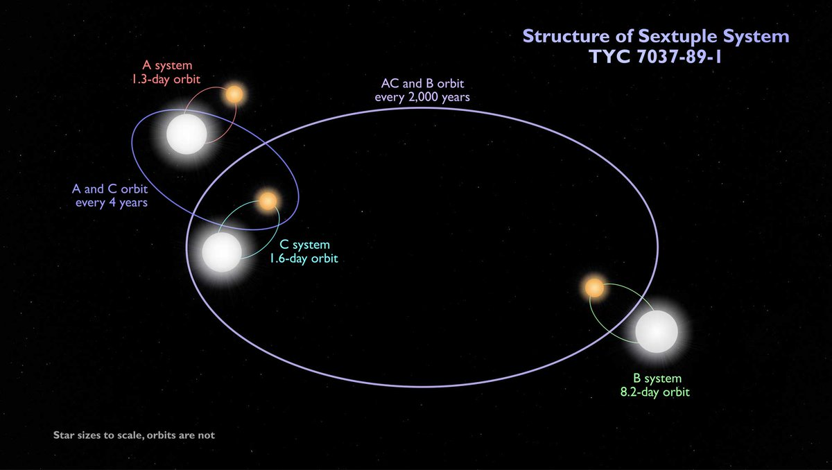 📣Discovery alert!📣 In a first, astronomers find a system of six stars made of three eclipsing binaries. Stars orbit their partners and pairs circle each other. It's a star dance party in space! @NASA's TESS space telescope spotted this strange system.