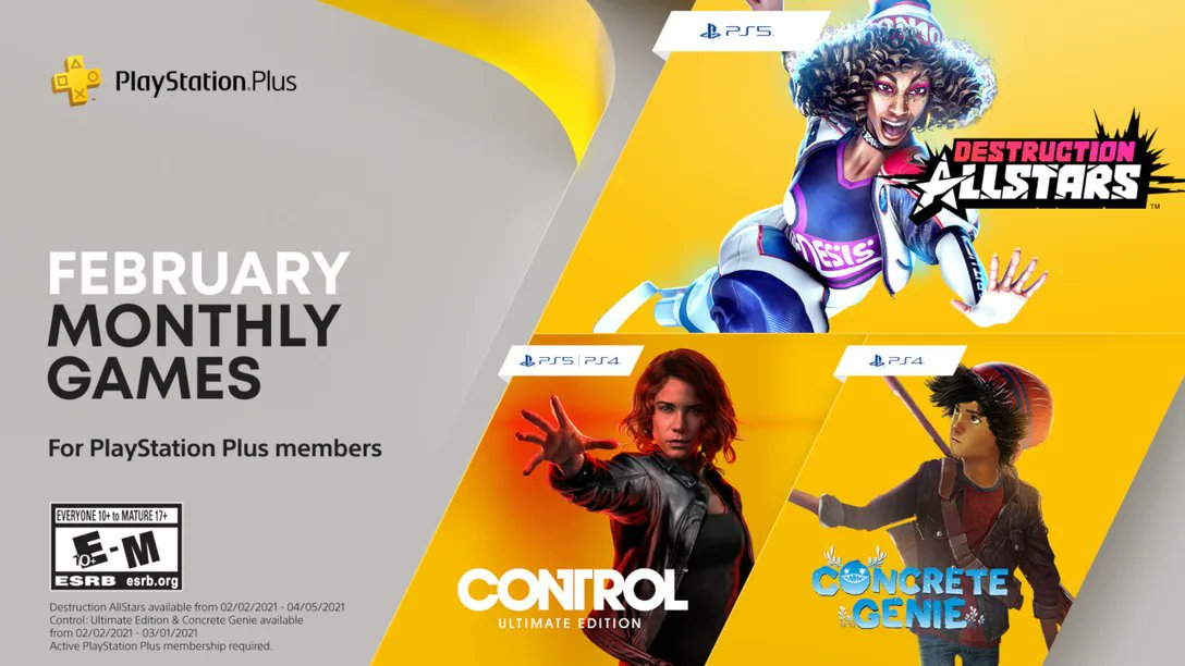 PlayStation Plus Games for February: Destruction AllStars (PS5):  Control: Ultimate Edition (PS5/PS4):  Concrete Genie [PS4 - 75]  Free/Sub Games (All Systems):