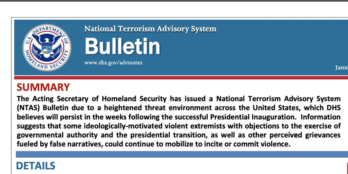 """DHS has issued a new National Terrorism Advisory bulletin warning that """"violent extremists w/ objections to the exercise of gov authority & presidential transition [and] other perceived grievances fueled by false narratives could continue to mobilize to incite or commit violence"""" https://t.co/l4t6oaouD7"""