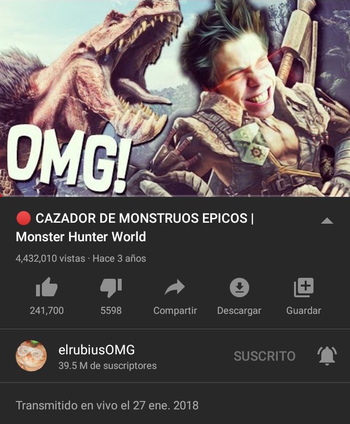 "🎉| Hace 3 años Rubius transmitió ""🔴CAZADOR DE MONSTRUOS ÉPICOS | Monster Hunter World""  🖇"