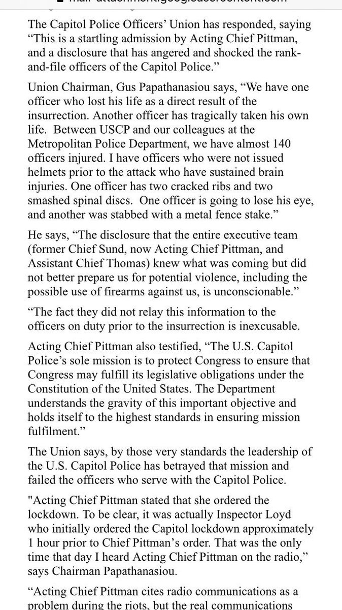 Capitol Police Union reports 140 officers injured in 1/6/21 coup attempt  Officers without helmets sustained brain injuries.  One had two cracked ribs & two smashed spinal discs.  One lost an eye & another was stabbed with a metal fence stake.  Why aren't the rioters in jail? #1u