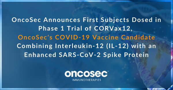 Today we announced that we dosed the first subjects in our Phase 1 Trial for our #COVID19 vaccine candidate combining IL-12 with an enhanced SARS-CoV-2 spike protein: