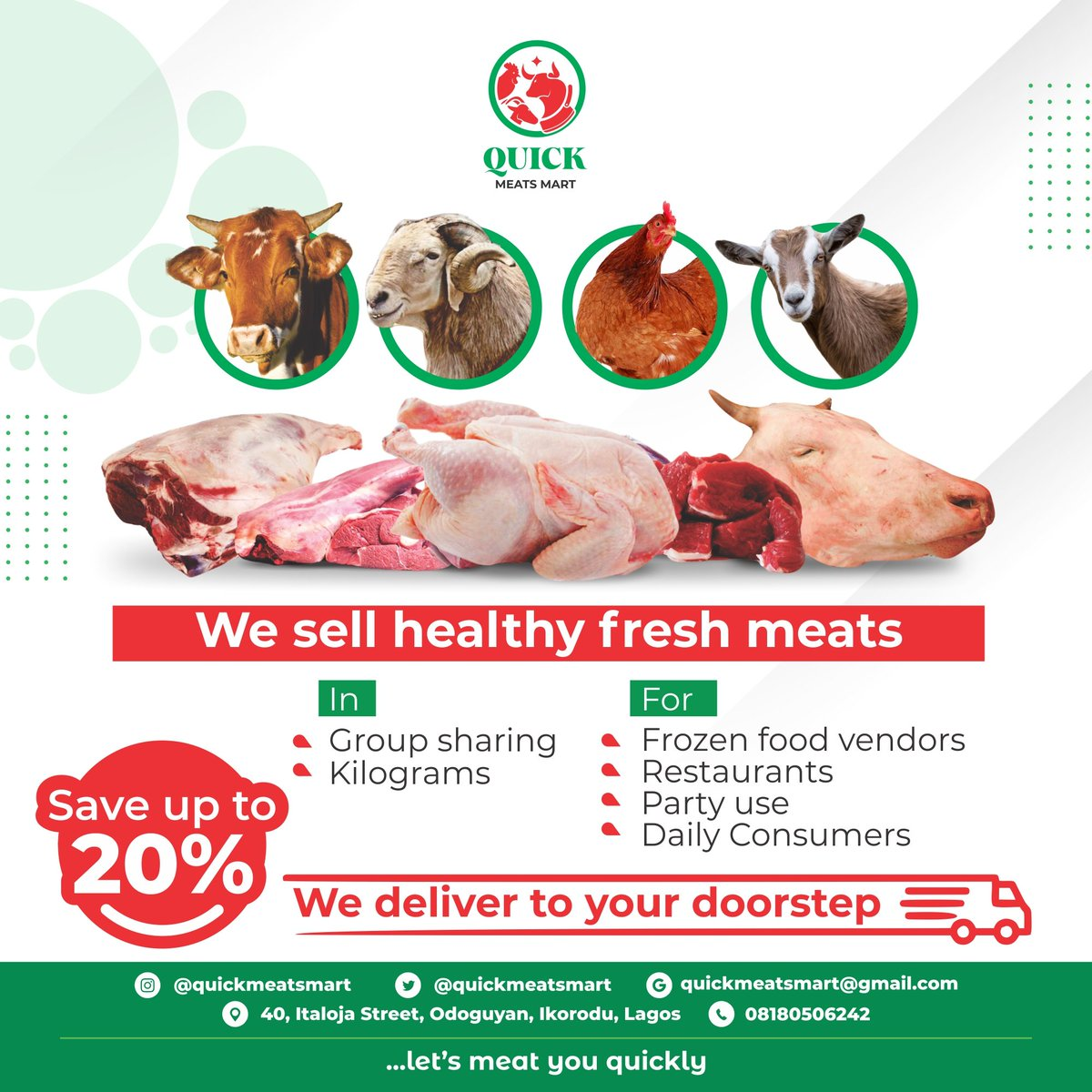 Save yourself from the market stress and the diseases that come with mal-handling of animals;  Let's handle your meats and have it delivered at your doorstep in unbeatable prices.  President Buhari | Bella Shmurda | Nigerian | Bigi | Ernest Asuzu #CHEWOL #MUNSHU #ENDSARS https://t.co/IV7AdTjMYk