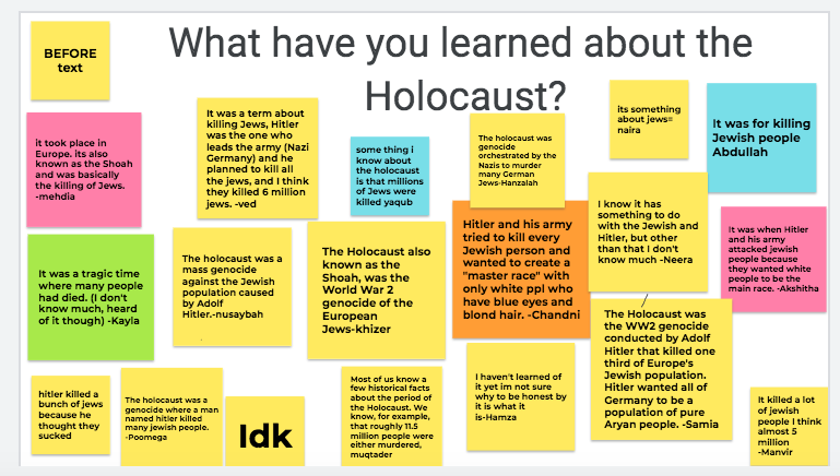 Ss in 8B @TWPublicSchool acknowledged #HolocaustRemembranceDay by learning more.  Ss appreciated hearing stories from survivors.  They also made a lot of connections to current fears/events and the treatment of Uighur Muslims. So grateful to be learning along with them.