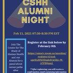 Join The Center for The Study of Human Health and our Alumni for a panel about career paths after graduation! https://t.co/IktnE7ymA3