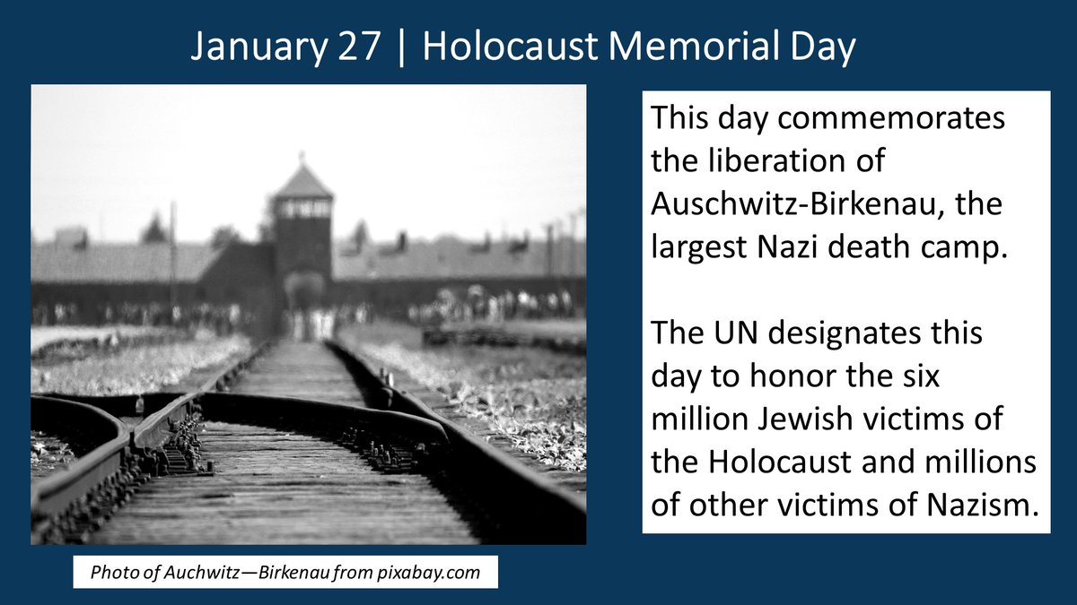 January 27 commemorates the 76th anniversary of over 7,000 people, including 700 children, being liberated from Auschwitz-Birkenau, the largest Nazi death camp. @UN has designated today as #HolocaustRemembranceDay to honor & remember victims @HMD_UK @HolocaustMuseum @HolocaustCtr
