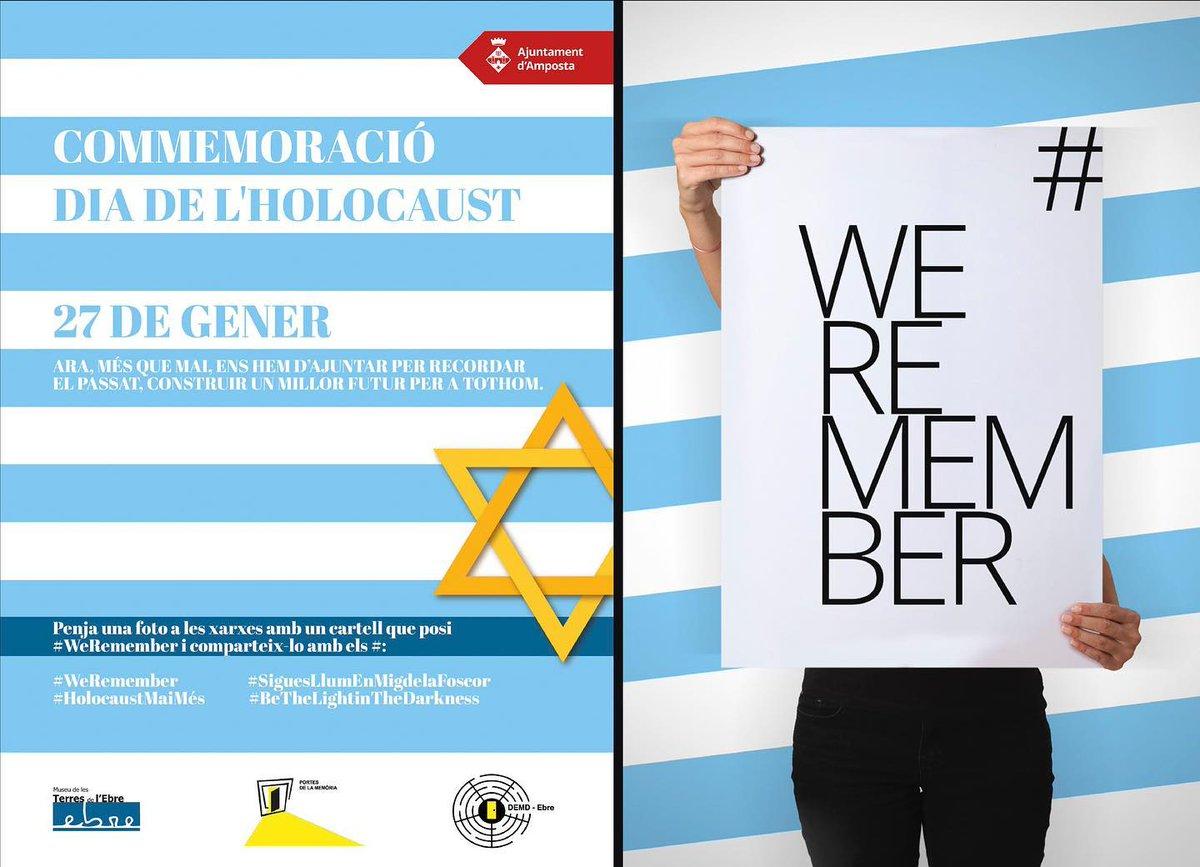 📣 MEMÒRIA HISTÒRICA   Avui 27 de gener és el Dia Internacional en Record de les Víctimes de l'Holocaust en commemoració de l'alliberament d'Auschwitz, avui fa 75 anys.  📸 Penja una foto a les xarxes amb un cartell que posi #weRemember i comparteix-lo.