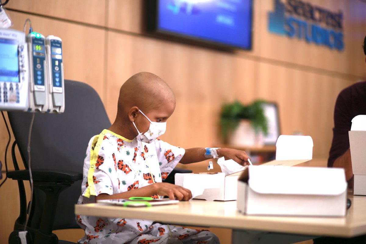 """""""Art is just about having a good time and not caring about who wins or does something better."""" -Damian, 7-year-old patient from @chocchildrens during a virtual art class in #SeacrestStudios"""