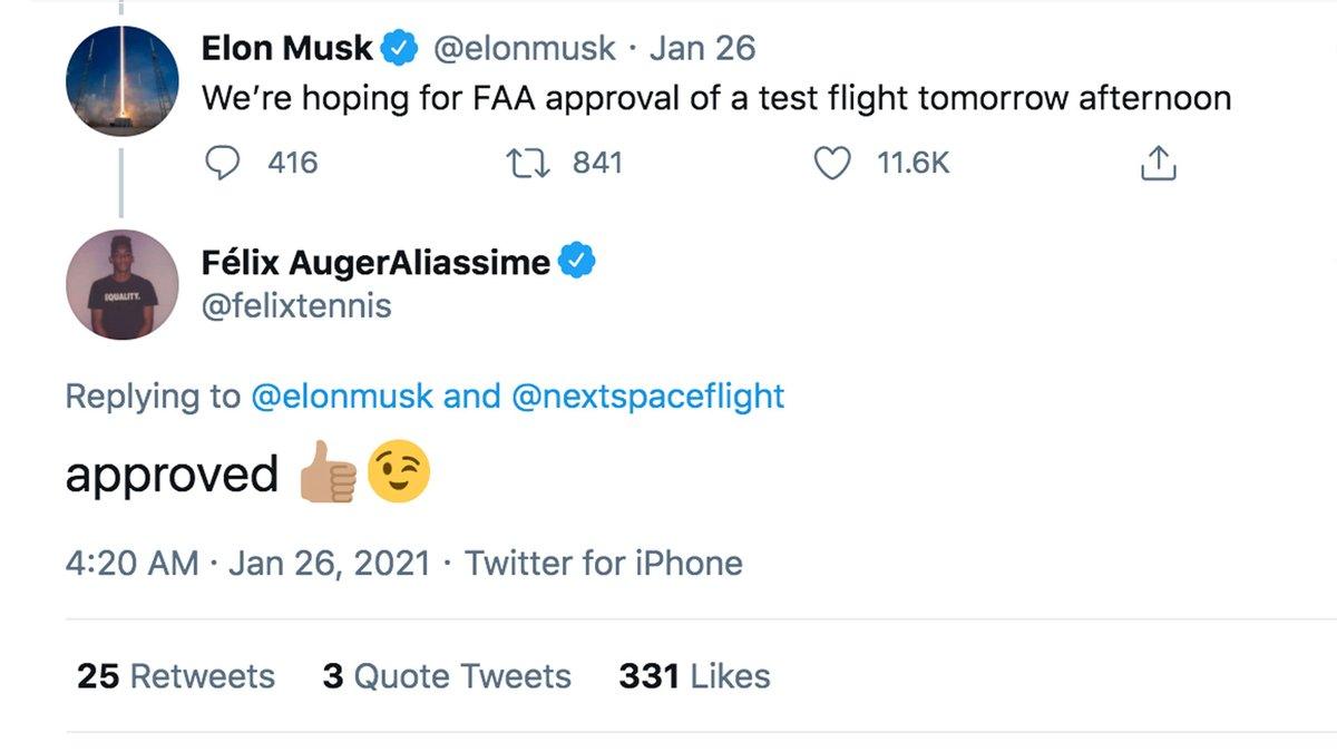 El verdadero 'FAA' ya lo aprobó 😉   @felixtennis | @elonmusk