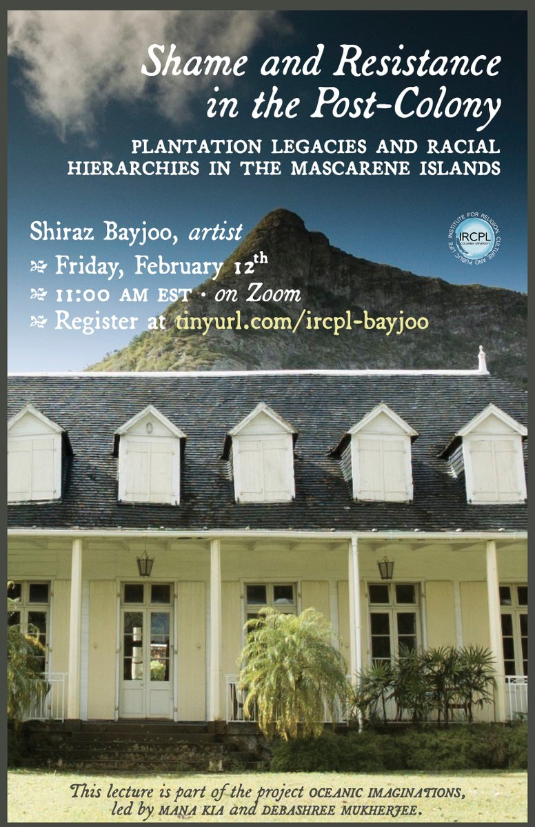 """Do join us on Feb 12, 11am EST for a talk by Mauritian artist Shiraz Bayjoo on """"Shame & Resistance in the Post-Colony: Plantation Legacies & Racial Hierarchies in the Mascarene Islands"""". Click below to register + access two short video works in advance of the talk! #indianocean"""