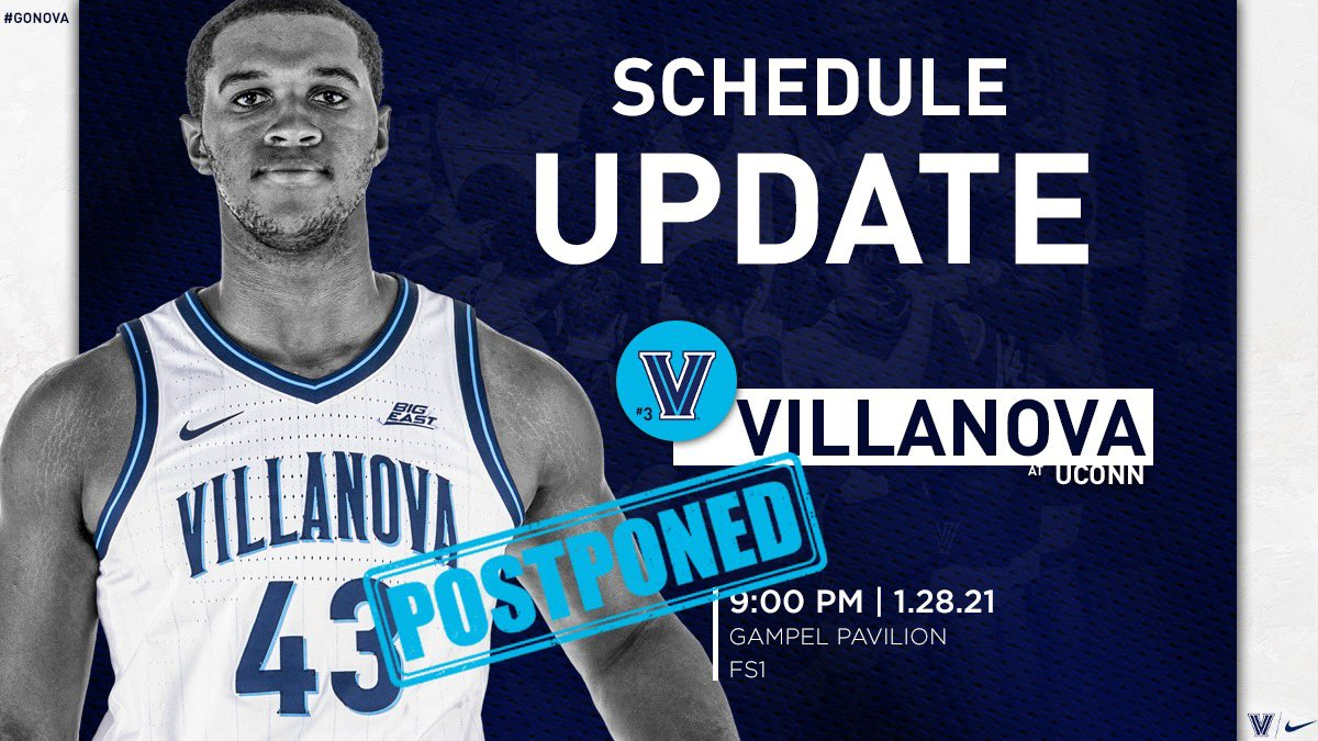 🚨 Schedule Update 🚨   Thursday's game at UConn has been postponed. Details:   #NovaNation
