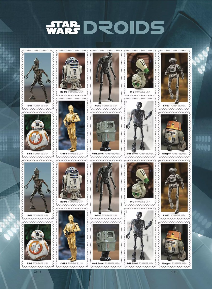 USPS to feature 'Star Wars' droids on upcoming stamp release. The stamps are expected to be available in the spring. @starwars @starwarstuff @StarWarsUK @USPS #stamps