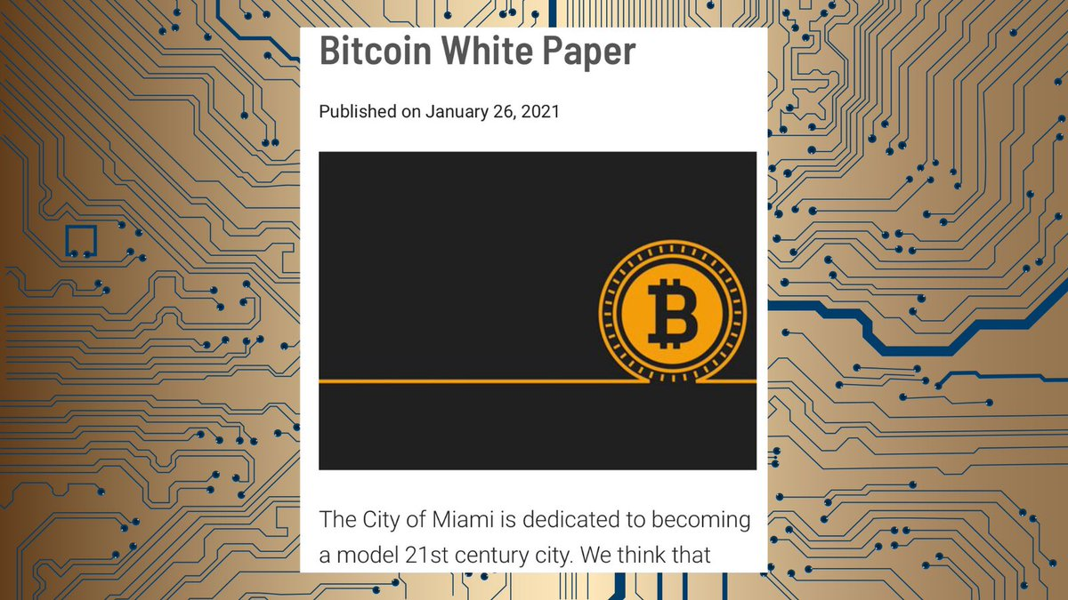 The City of Miami believes in #Bitcoin and I'm working day and night to turn Miami into a hub for crypto innovation.   Proud to say Miami is the first municipal government to host Satoshi's White Paper on government site. @balajis @tyler @cameron @APompliano