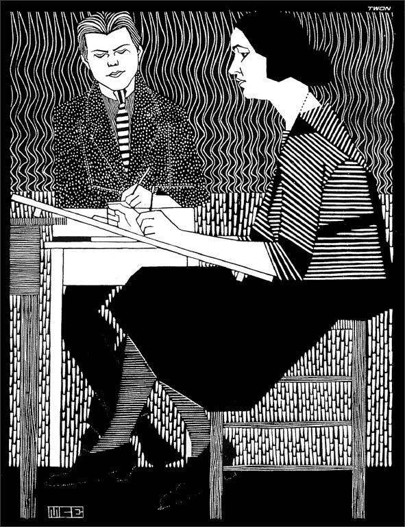 In Mesquitas Classroom, 1920 #expressionism #mcescher