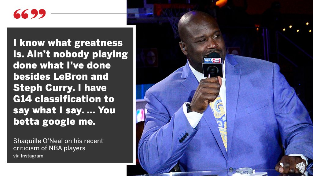Shaq took to Instagram to defend his recent criticism of NBA players. https://t.co/HZBhqnNPoS