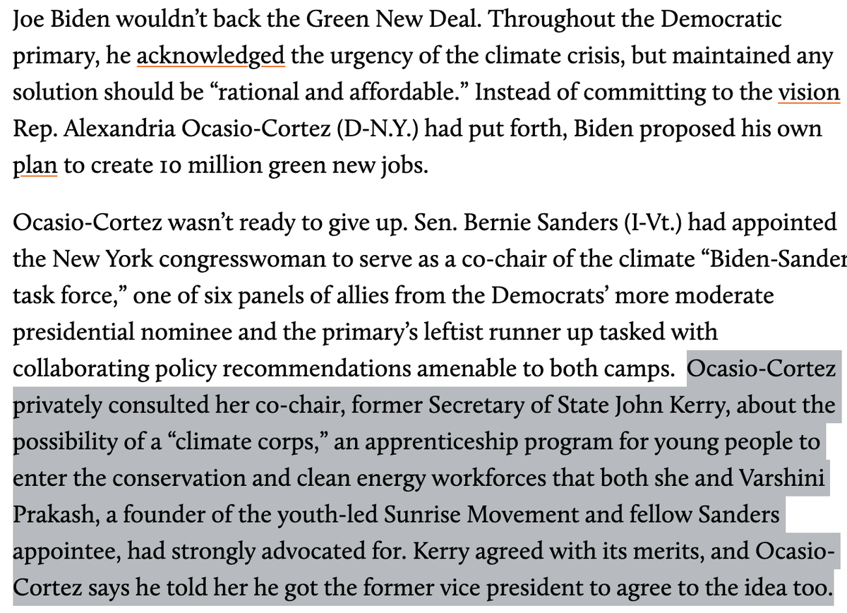 During the Biden-Sanders task force, @AOC + @sunrisemvmt founder @VarshPrakash sold @JohnKerry on a climate corps to put young people to work—a swing at a Green New Deal. The creation of a Civilian Climate Corps is among the EOs @POTUS announced today: motherjones.com/politics/2020/…