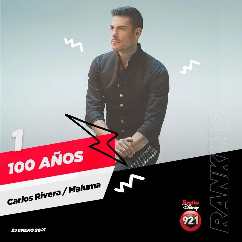 Novedades de esta semana en el #RankingRD:   🏆 El #1 se lo lleva la colaboración  #100años de @_CarlosRivera y  @maluma al ritmo de los mariachis.👏🏻👏🏻