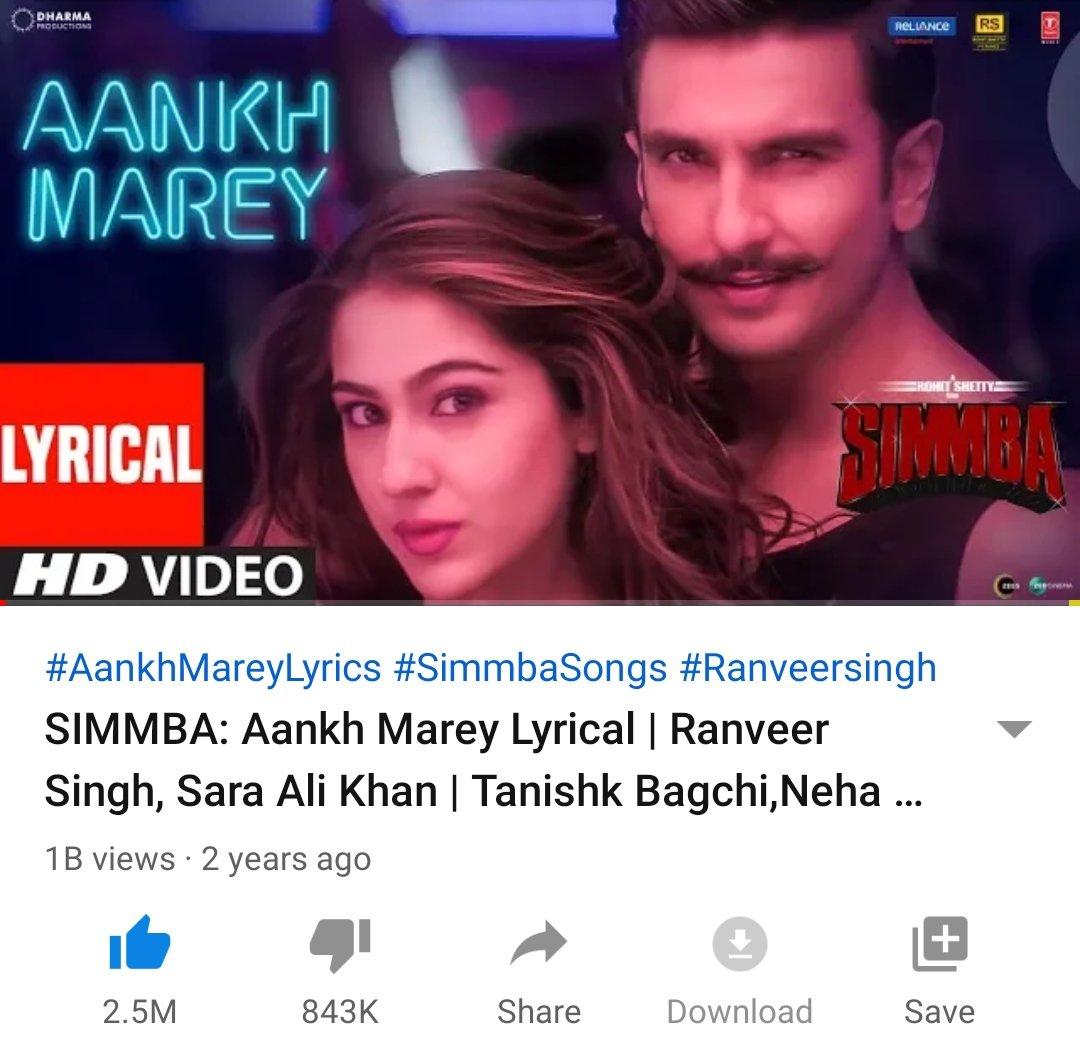 "CONGRATS to #SaraAliKhan & #RanveerSingh  ( 1 BILLION ) views ""AANKH MAREY"" has become the 1st #Bollywood movie song EVER to surpass ( 1 BILLION ) views on @YouTube #AankhMarey #Simmba #YouTube #TSeries @TSeries"