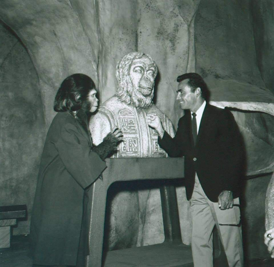 #apes #Throwback #scifi #movie #writer #BehindTheScenes Rod Serling who wrote Planet of the Apes visits the set.