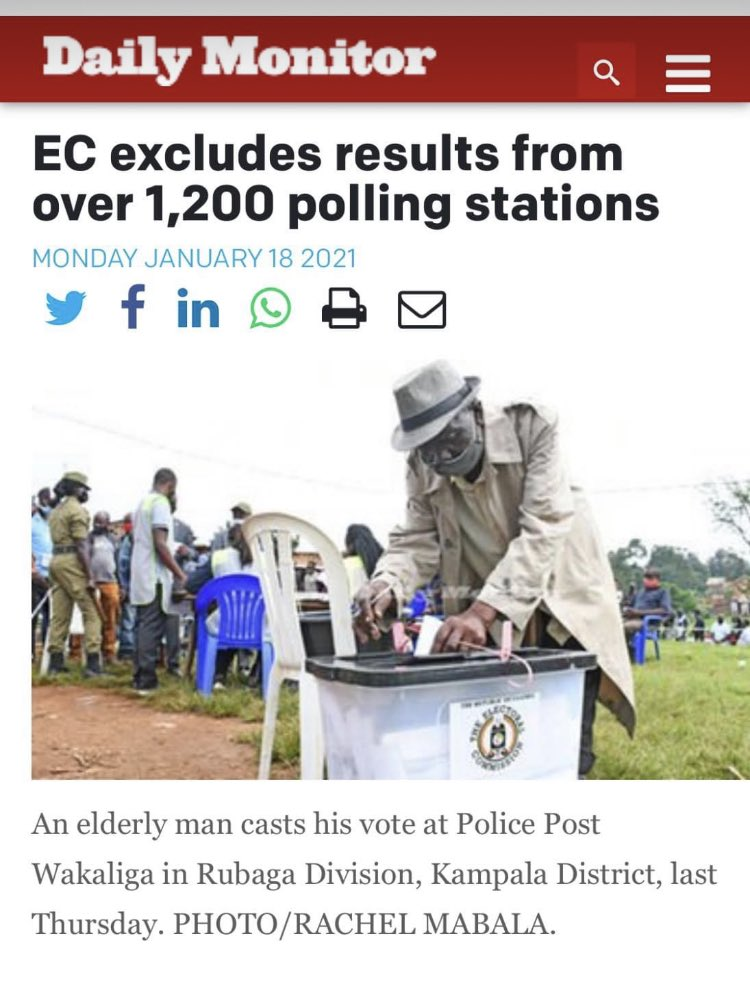 Count all the votes. @UgandaEC  @SimonByabakama .We sacrificed alot to vote.  Tetuli baana banyoko.   #CountEveryVote