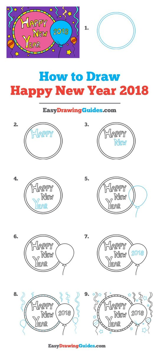 Happy New Year 2018 Drawing Lesson. Free Online Drawing Tutorial for Kids. Get the Free Printable Step by Step Drawing Instructions on  . #HappyNewYear 2018 #LearnToDraw #ArtProject