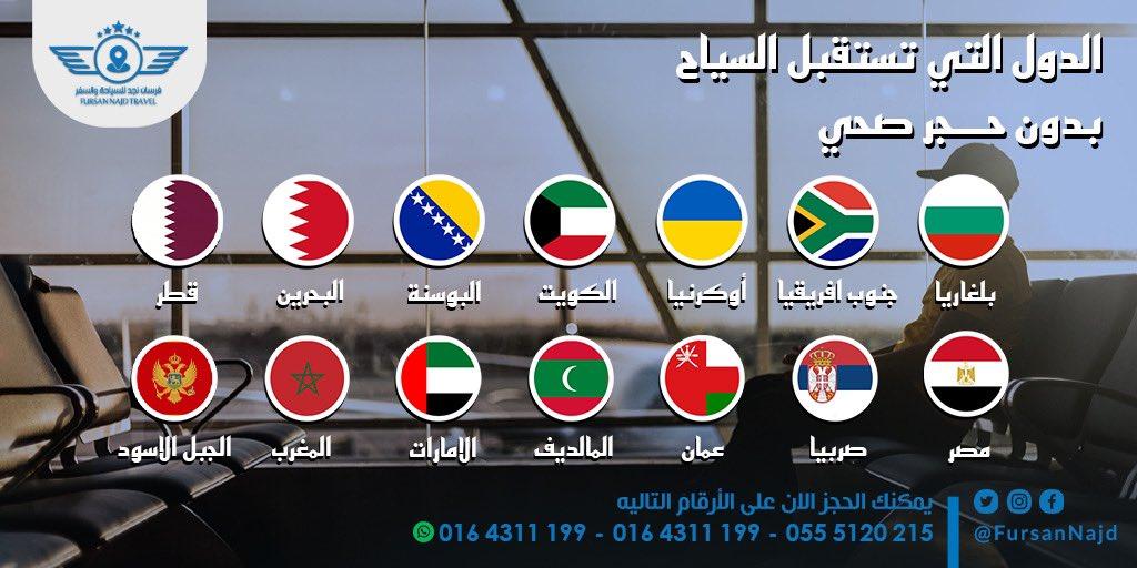 الدول التي تستقبل السواح بدون #حجر_صحي  #الامارات 🇦🇪  #قطر #المغرب 🇲🇦 #مصر 🇪🇬 #البحرين 🇧🇭  #المالديف #البوسنة 🇧🇦 #أوكرانيا 🇺🇦   #الرياض #جدة #الدمام #المجمعة #الزلفي #القصيم #حائل #تابوك #المدينة #ابها #الخبر #الشرقية #السعودية